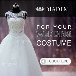 White color sleveless bridal gown with work done on it. Diadem logo on the top and text written on the right of the costume image
