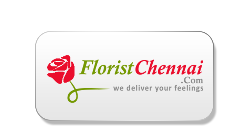 Red Rose With Green Stem, Followed by 'Florist Chennai' Written In Green And Red Combination And Their Tag Line