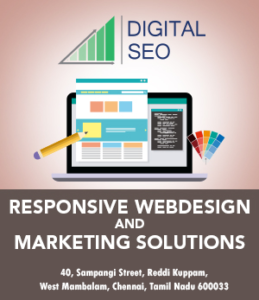 Web design work shown on a laptop screen, a pencil pointing to the screen and a colour shade brochure on the right. Logo of Digitalseo above it and text written below.